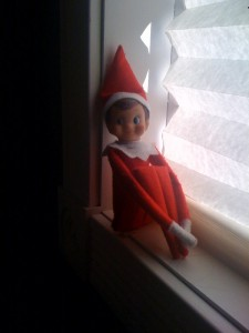 Our Elf hiding in the bathroom windowstill