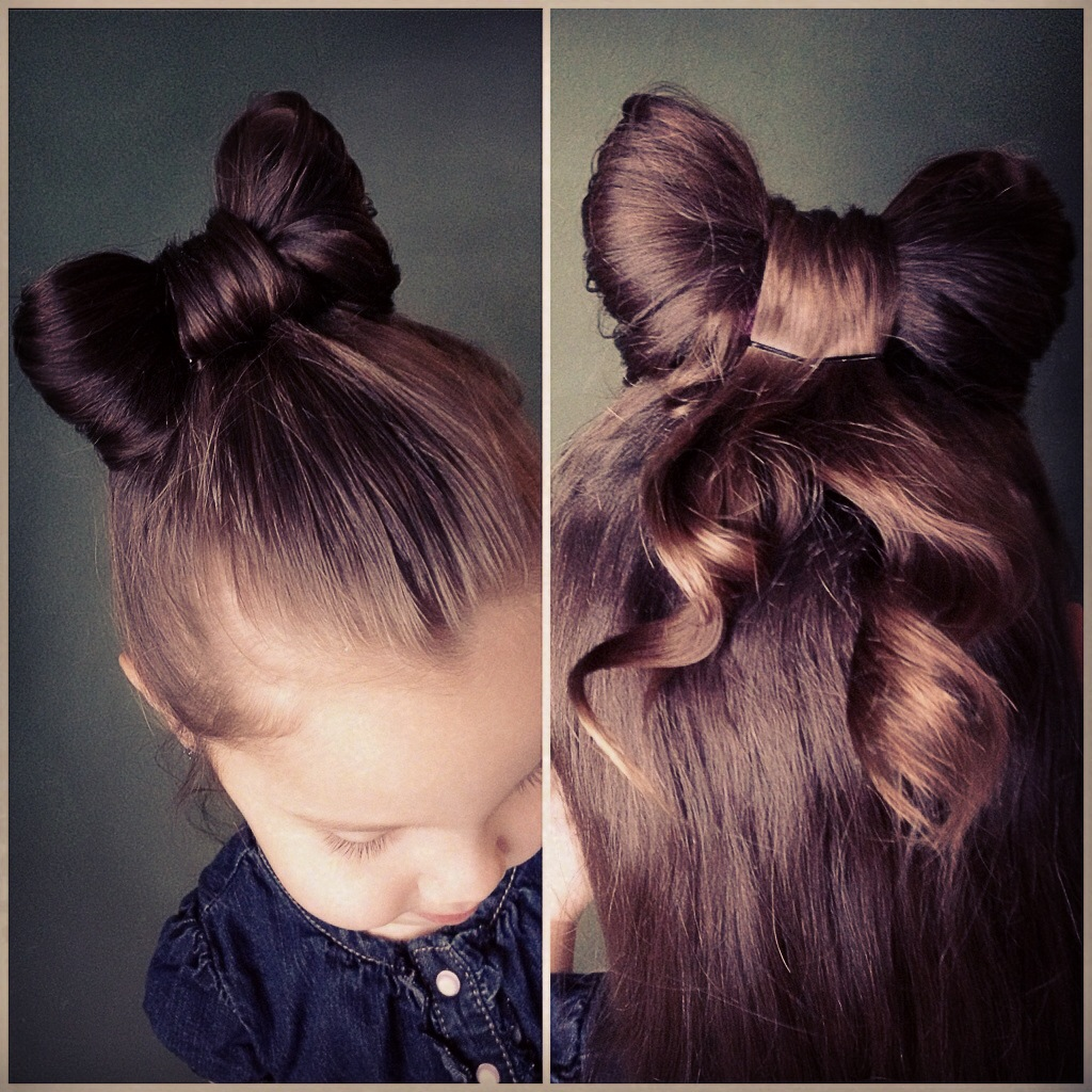 Cute Girls Hairstyles Bow Bun with Hair