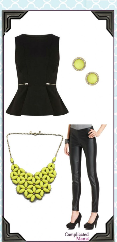 Spring Yellow black peplum Outfit_Style Collage