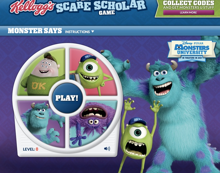 Kelloggs Scare Scholar Games and sweeps-